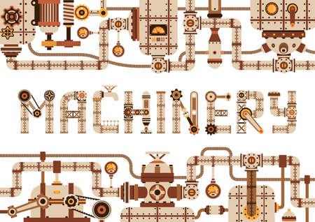 Steampunk machinery horizontal frame with pipes, parts and various mechanical devices. Vector illustration.