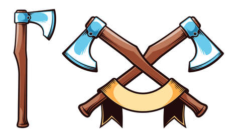Viking battle axe. Big crossed axes emblem with ribbon