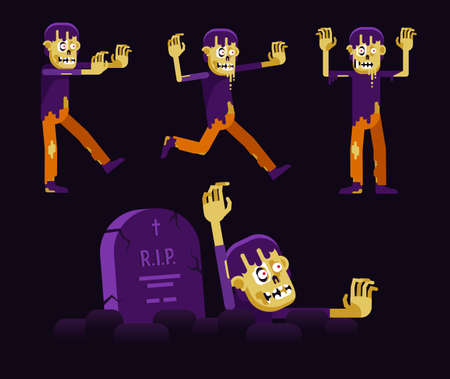 Zombie walking dead character and grave - for Halloween. Vector flat cartoon illustration.