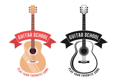 Acoustic guitar school logo with ribbon