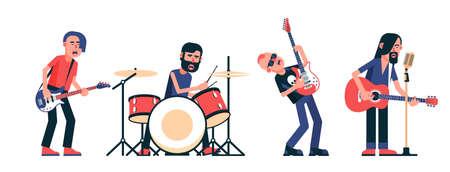 Conjunto aislado de personajes de músicos de banda de rock. Ilustración vectorial.