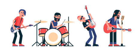 Rock band musicians characters isolated set. Vector illustration. Çizim