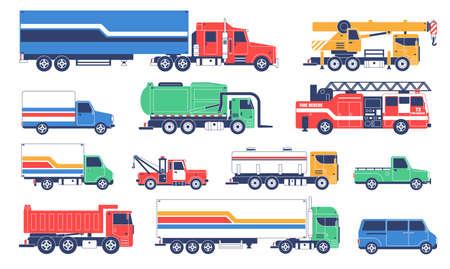 Camions spéciaux. Véhicules de services spéciaux Vecteurs