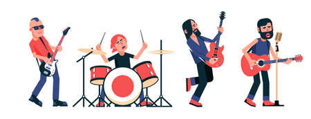 Rock band musicians with instruments in different poses. Vector isolated illustration.