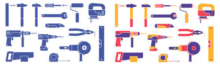 Hand-held working tools - set of icons. Colorful and monochrome silhouettes. Vector illustration.