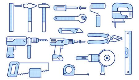 Arbeitswerkzeuge eingestellt. Lineare Symbole von mechanischen Werkzeugen. Vektor-Illustration.