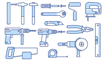 Working tools set. Linear icons of mechanical tools. Vector illustration.