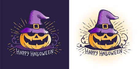 Halloween pumpkin in a magic hat that says happy Halloween. Vector vintage illustration. Worn texture on a separate layer.