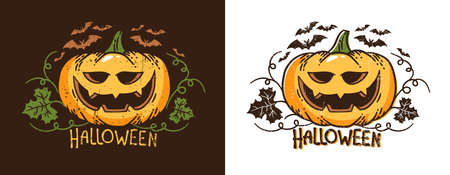 Halloween pumpkin with leaves and bats. Retro typographical vector illustration. Worn texture on a separate layer. Stock Illustratie