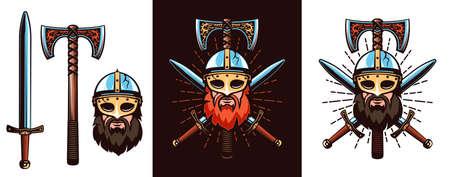 Warrior emblem with bearded Viking in helmet