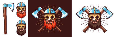Nordic warrior logo - bearded Viking in helmet with mask Stock Illustratie