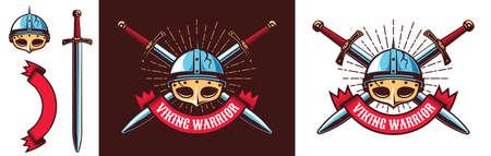Medieval northern Viking warrior logo Stock Illustratie