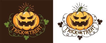 Halloween pumpkin - vintage print logo. Retro Jack lantern pumpkin with smile. Vector illustration.