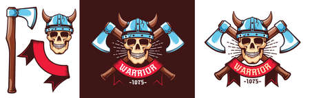 Warrior logo with skull in Viking helmet and crossed battle axes