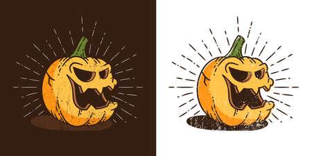 Vintage Halloween pumpkin in retro style smiling with hipster sunburst Stock Illustratie