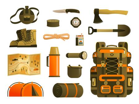 Camping backpack and tourists survival kit Stockfoto - 130212214