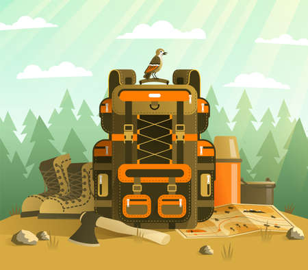 Camping backpack and tourist stuff