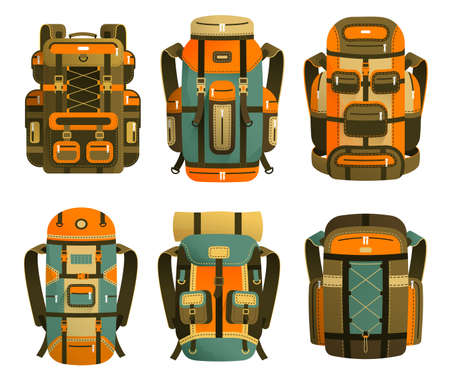 Camping backpack set - different design options. Colorful tourist backpacks on a white background. Vector illustration. Stock Illustratie