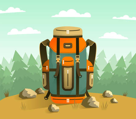 Camping backpack on the background of forest. Tourist composition with colored backpack. Vector illustration.