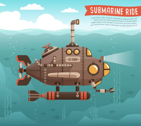 Steampunk submarine in the ocean. Fantastic retro submarine with periscope extended above the sea surface. Vector illustration. Illustration