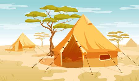 Tenda safari nella savana del deserto. Illustrazione vettoriale. Vettoriali