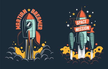 Rocket launch retro emblem