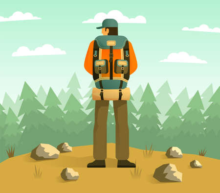 Man with camping backpack back view against the backdrop of a forest. Vector illustration.