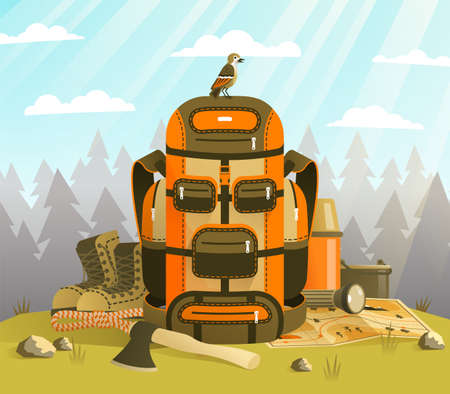 Camp backpack standing on the grass against forest Vettoriali