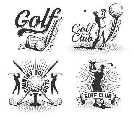 Golflogos mit Schlägern, Bällen und Golfern