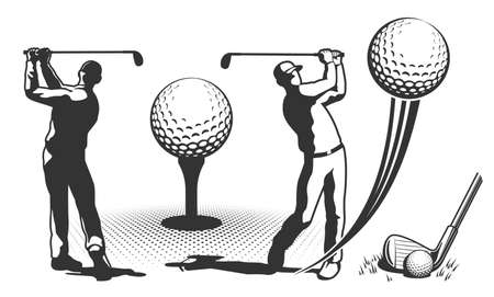 Joueur de golf dans un style rétro Vecteurs