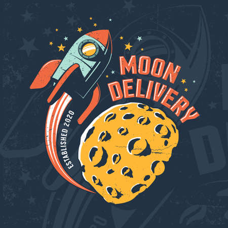Rocket fly around Moon. Vintage space poster