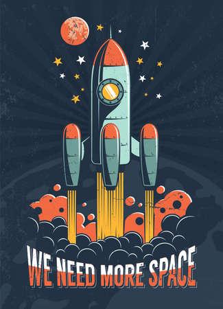 Démarrage d'une fusée sur la planète Mars