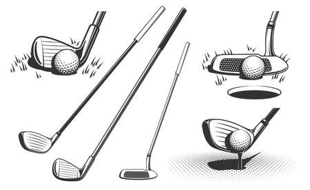 Golf clubs and a ball. Retro monochrome vector illustration.