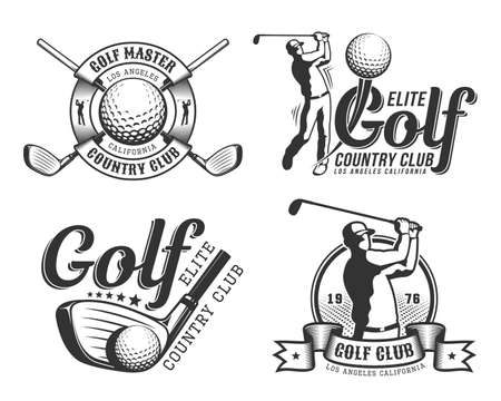 Golf emblem with golfer Stockfoto - 130212224