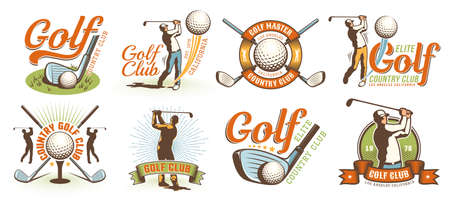 Golf retro logo with clubs balls and golfer Stock Illustratie