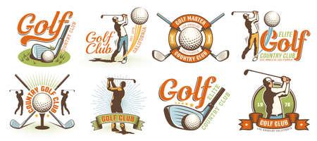 Golf retro logo with clubs balls and golfer Illustration