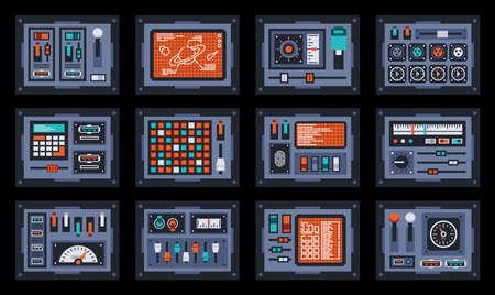 Paneles de control de nave espacial o estación científica. Consola de salpicadero de la sala de control. Ilustración de vector.