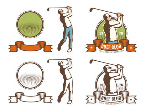 Retro golf badge with golfer hitting the ball