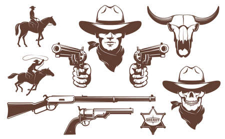 Cowboy Wild West retro design elements