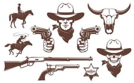 Elementi di design retrò Cowboy Wild West Vettoriali
