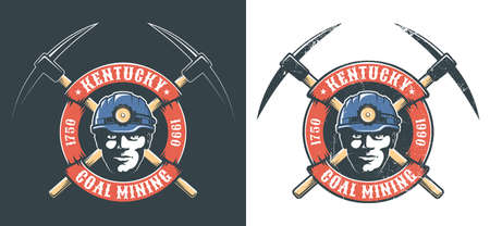 Miners logo with miner head in hardhat with lantern and crossed picks Illustration