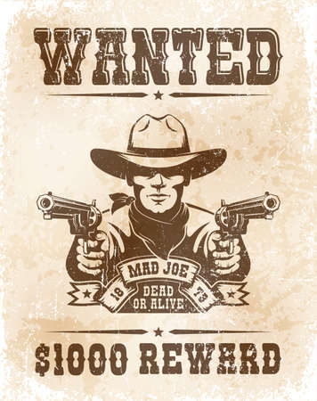 Cowboy wanted poster - vintage retro style Illustration