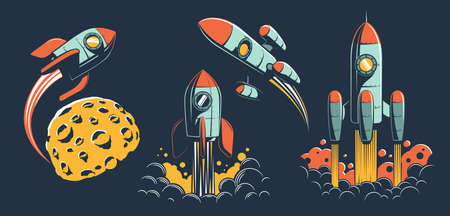 Space rocket of various designs flies in space Banque d'images - 132741882