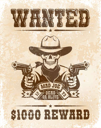 Wanted poster with skull cowboy with guns