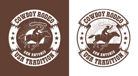 Cowboy horseman with lasso - western rodeo vintage emblem Banque d'images - 132741881