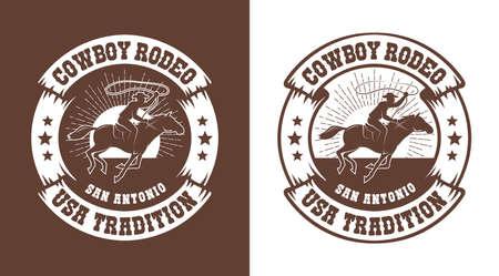Cowboy horseman with lasso - western rodeo vintage emblem Illustration