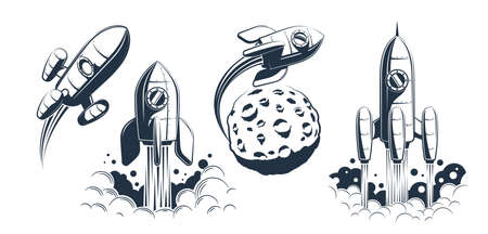 Rocket spaceship launch and flying Illustration