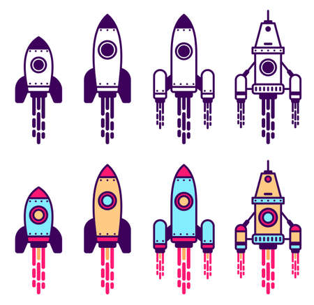 Space Rocket line icon set. Simple rocket ship with flame pictogram. Monochrome and colored vector illustration.