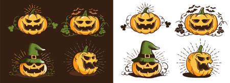 Vintage halloween pumpkin set. Retro trick or treat smiling pupmpkins - vector print illustration.