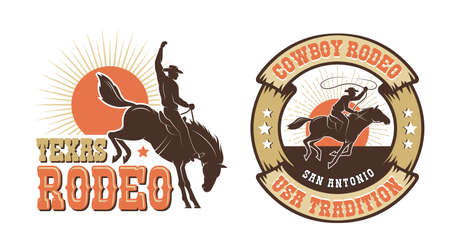 Rodeo retro logo with cowboy horse rider silhouette Banque d'images - 132741885